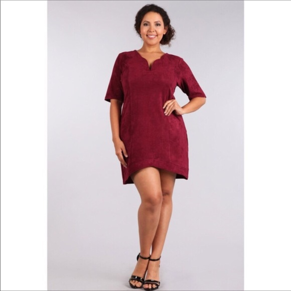 Dresses Plus Size Suede Burgundy Dress Poshmark